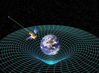 The Earth, like any object with mass would, bends the 2-D version of space and time around it represented as a grid