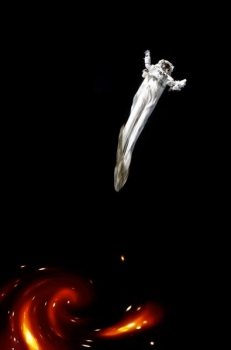 This stretching has been nick-named spaghettification. Ouch. Photo courtesy of Wikipedia.